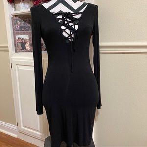 LuLu's Front Lace Up Black Bodycon Dress